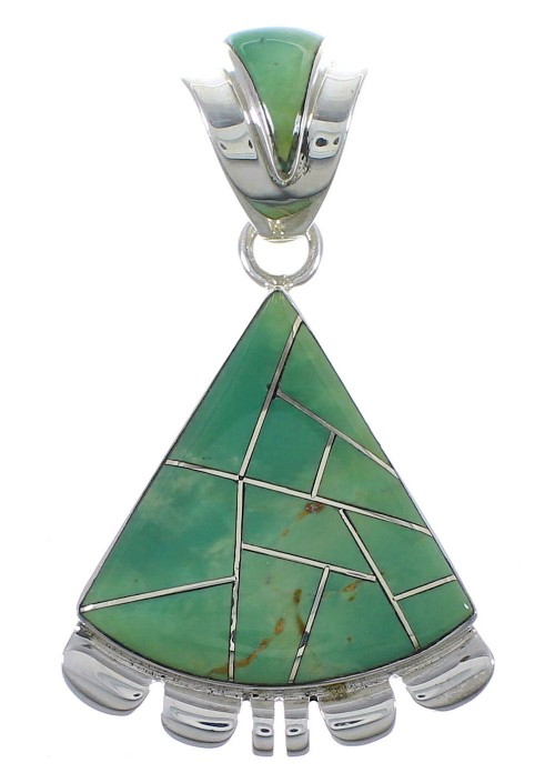 Silver Turquoise Southwest Pendant AX48954