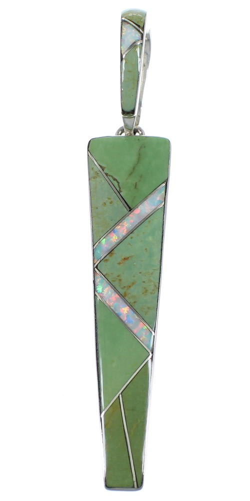 Genuine Sterling Silver Turquoise Opal Southwest Inlay Pendant CX46124