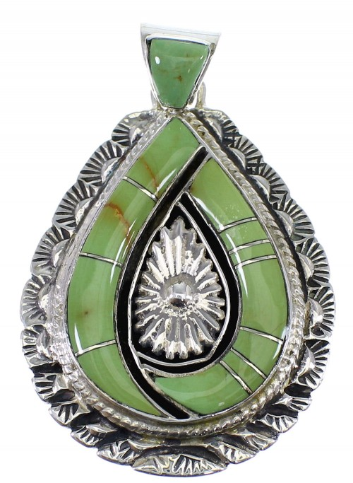 Turquoise Inlay Southwest Silver Pendant CX46262