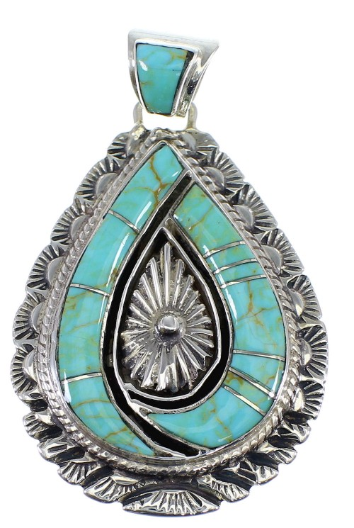 Southwest Turquoise Inlay And Silver Pendant CX46265
