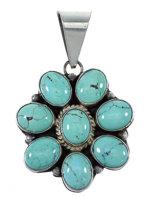 Navajo Indian Turquoise And Silver Pendant EX45693