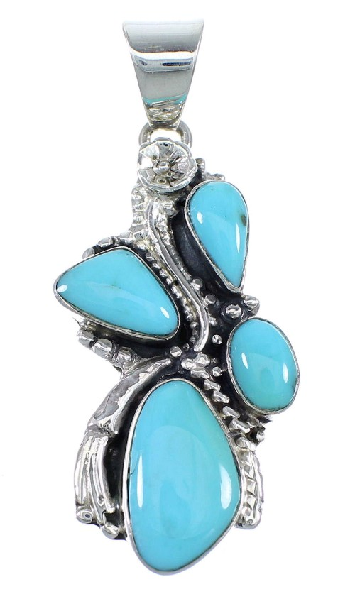 Southwestern Turquoise Sterling Silver Jewelry Pendant CX46106
