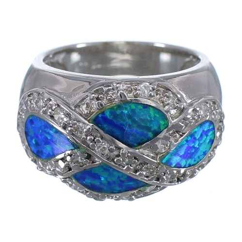 Authentic Sterling Silver Blue Opal Inlay Ring Size 7-3/4 DS51004