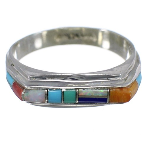 Turquoise Multicolor Jewelry Sterling Silver Ring Size 6-1/2 HS34050