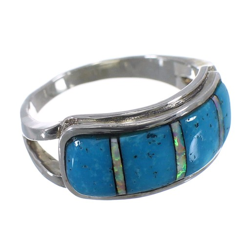 Southwest Opal Turquoise Silver Jewelry Ring Size 8-1/2 GS56021