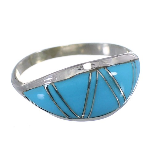 Sterling Silver Turquoise Inlay Ring Size 5-3/4 DS56307