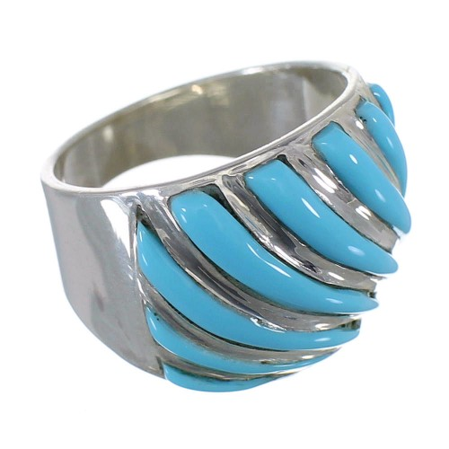Southwest Turquoise Silver Inlay Jewelry Ring Size 6-3/4 YS61643