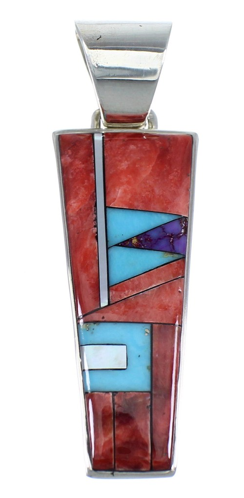 Genuine Sterling Silver Multicolor Inlay Pendant QS57786