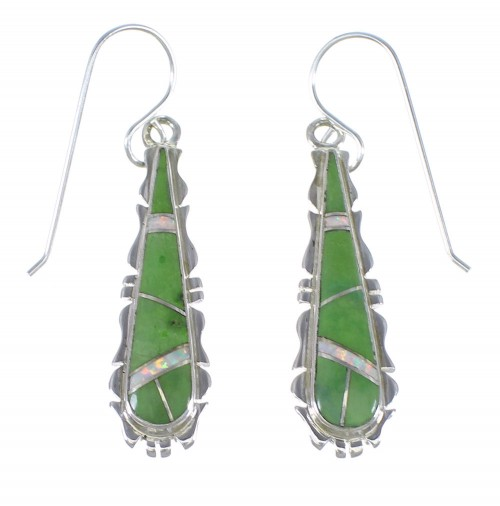 Opal And Green Agate Inlay Silver Earrings CX45146