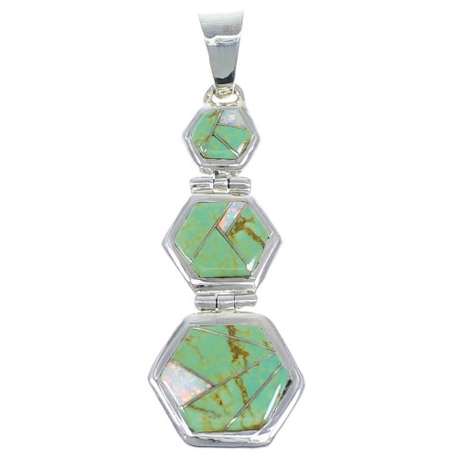 Turquoise And Opal Inlay Southwest Sterling Silver Pendant CX47245