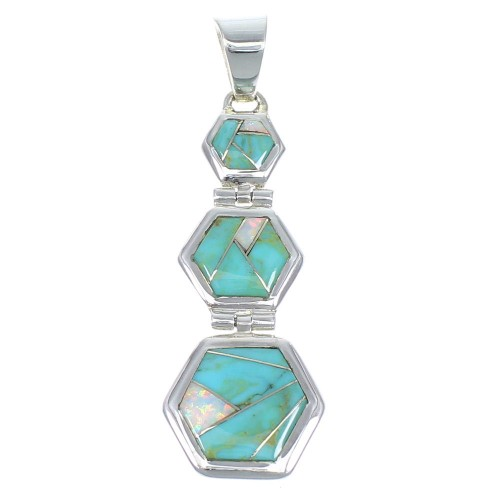 Genuine Sterling Silver Opal And Turqouise Pendant Jewelry CX47263
