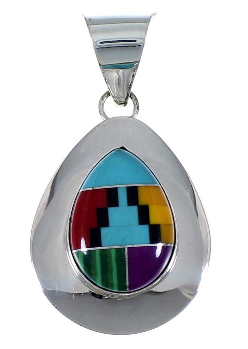 Multicolor Inlay Sterling Silver Tear Drop Pendant EX48786