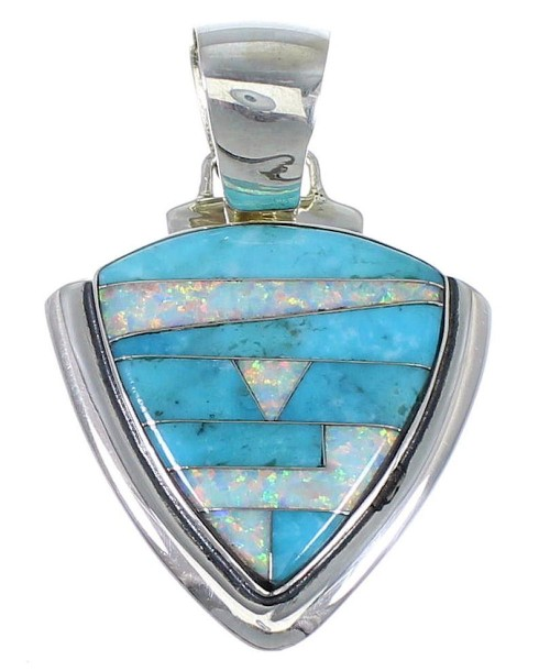 Turquoise And Opal Southwestern Silver Pendant EX48791