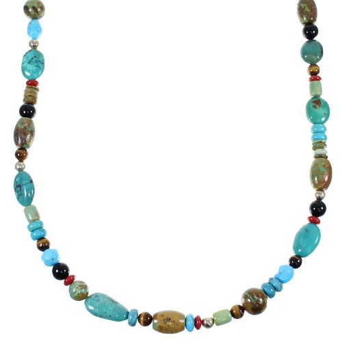 Navajo Indian Multicolor Sterling Silver Bead Necklace EX47409