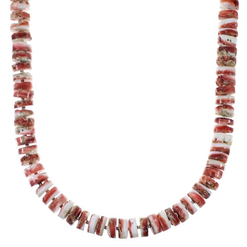 Red Oyster Pin Shell Shell Silver Navajo Bead Necklace TX47433