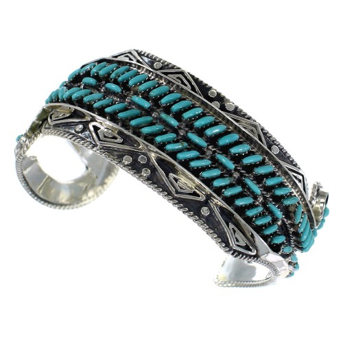 Water Waves Well-Built Sterling Silver Turquoise Cuff Bracelet CX47612