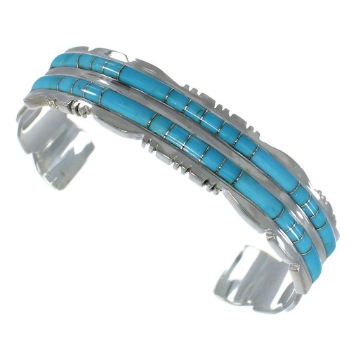 Turquoise Inlay High Quality Sterling Silver Cuff Bracelet CX47649