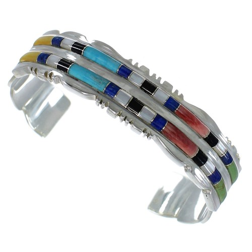 Multicolor Inlay Sterling Silver High Quality Cuff Bracelet CX47671
