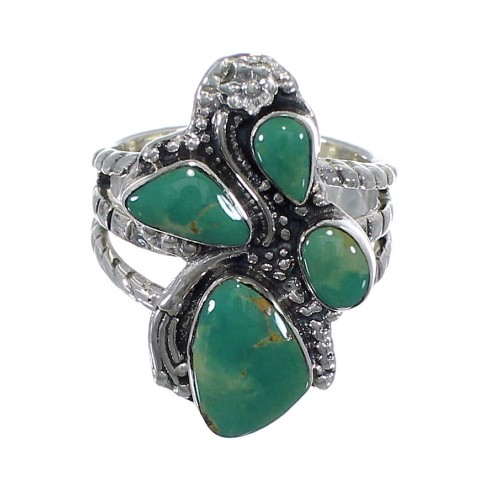 Southwest Sterling Silver Turquoise Ring Size 7-3/4 CX49803