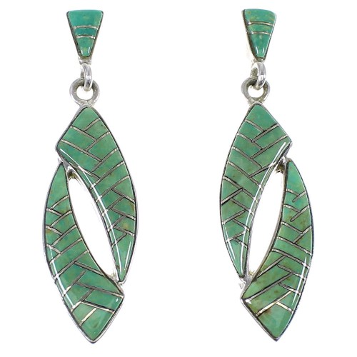 Turquoise Silver Post Dangle Earrings AX48518