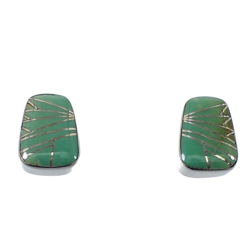 Silver Southwest Turquoise Inlay Post Earrings AX48631