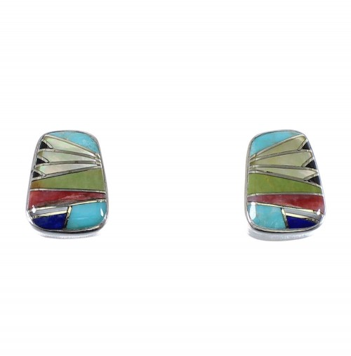 Multicolor Inlay Authentic Sterling Silver Post Earrings AX48639