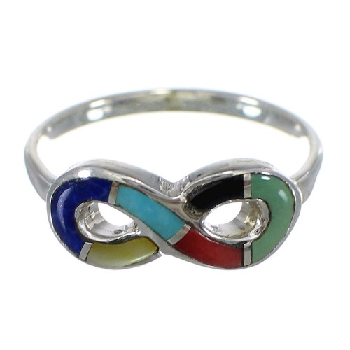 Southwest Multicolor Sterling Silver Infinity Ring Size 7-1/4 CX47570