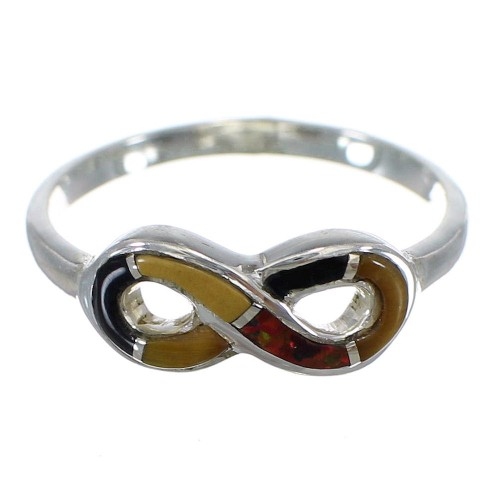 Sterling Silver Infinity Southwest Multicolor Ring Size 8-1/4 CX47588
