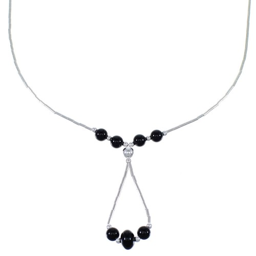 Liquid Silver And Onyx Bead Necklace EX49716