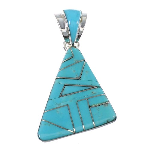 Genuine Sterling Silver Turquoise Inlay Pendant  AX47971