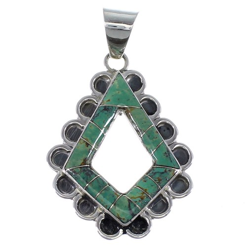 Sterling Silver And Turquoise Inlay Jewelry Pendant AX48103