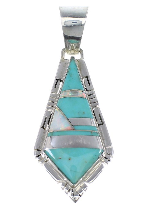Sterling Silver Turquoise And Opal Inlay Pendant AX48224