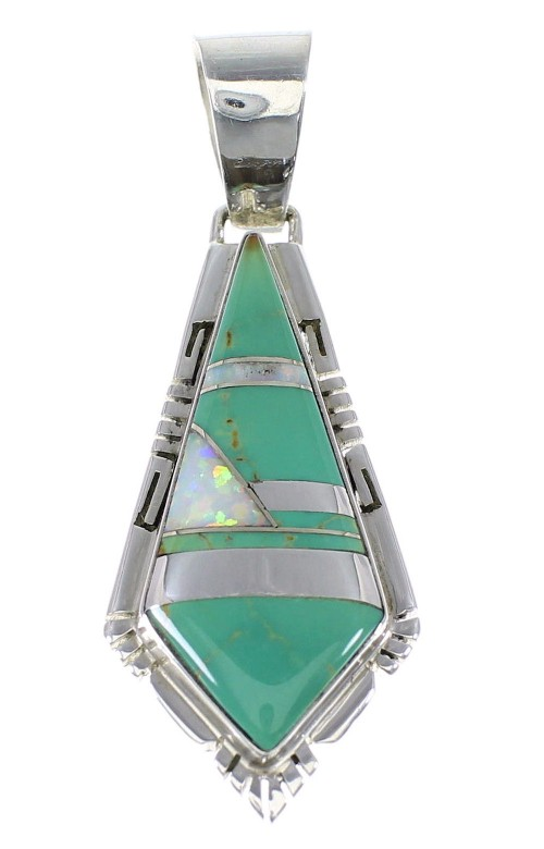 Sterling Silver Turquoise And Opal Jewelry Inlay Pendant AX48227
