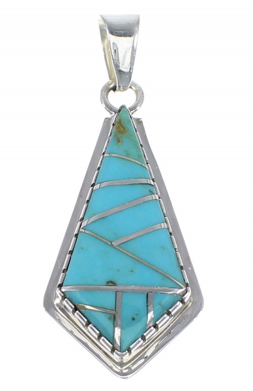 Authentic Sterling Silver And Turquoise Inlay Jewelry Pendant AX48357
