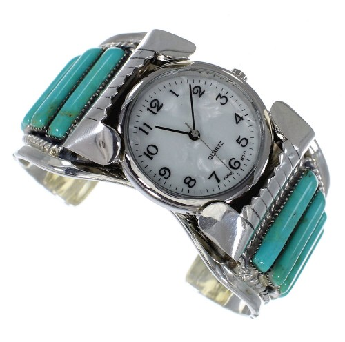 Turquoise Southwest Authentic Sterling Silver Cuff Watch CX47863