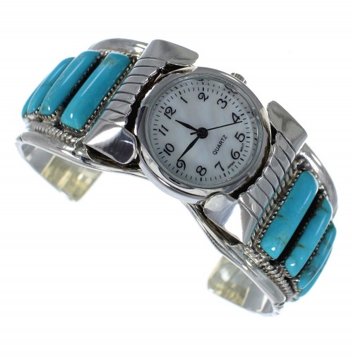 Southwest Turquoise Sterling Silver Jewelry Cuff Watch CX47875