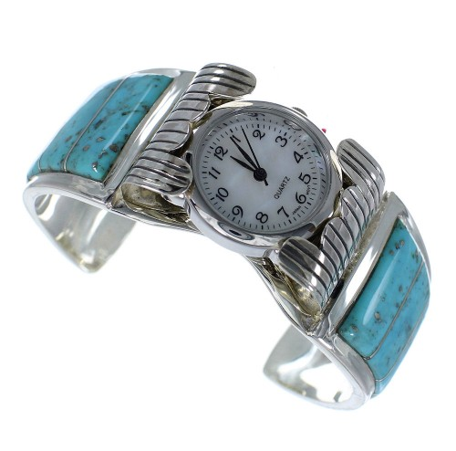 Southwest Turquoise Genuine Sterling Silver Cuff Watch CX48615