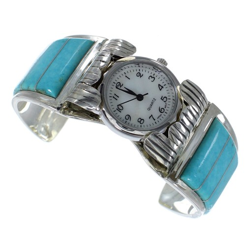 Turquoise Southwestern Authentic Sterling Silver Cuff Watch CX48641