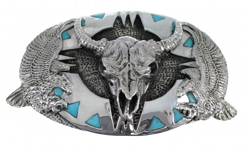 Southwest Turquoise Silver Cow Skull Eagle Belt Buckle EX48465