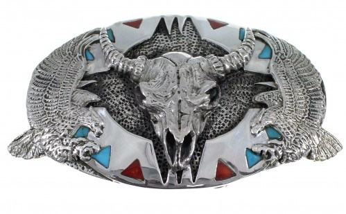 Turquoise Coral Sterling Silver Cow Skull Eagle Belt Buckle EX48466