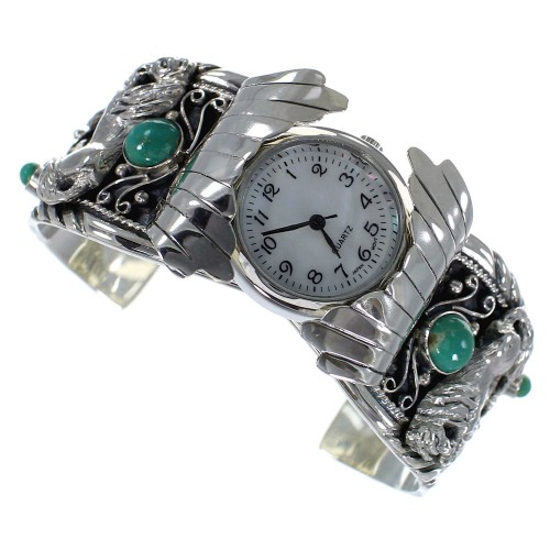Genuine Sterling Silver Turquoise Horse Southwest Cuff Watch CX48683