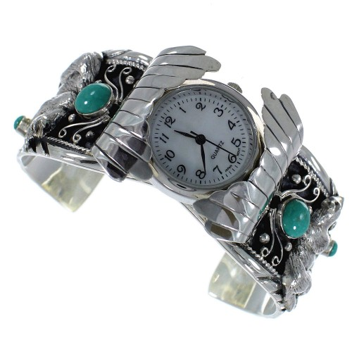 Turquoise Southwest Genuine Sterling Silver Bear Cuff Watch CX48728
