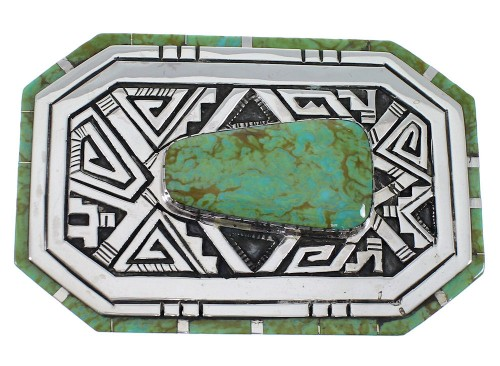 Southwest Silver Water Wave Turquoise Belt Buckle EX48751