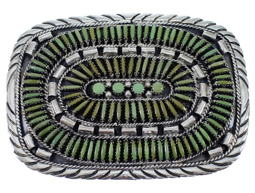 Sterling Silver Southwest Turquoise Needlepoint Belt Buckle EX48767
