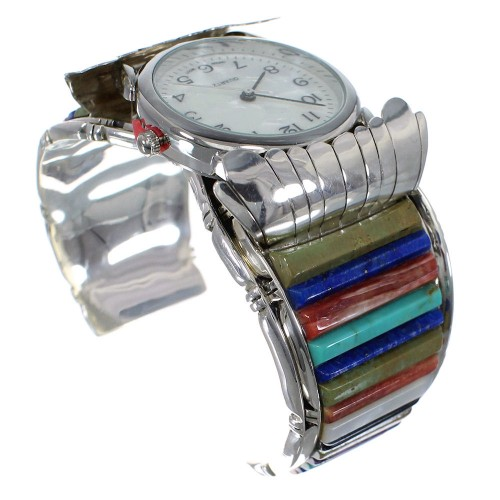 Southwest Authentic Sterling Silver Multicolor Cuff Watch CX48818