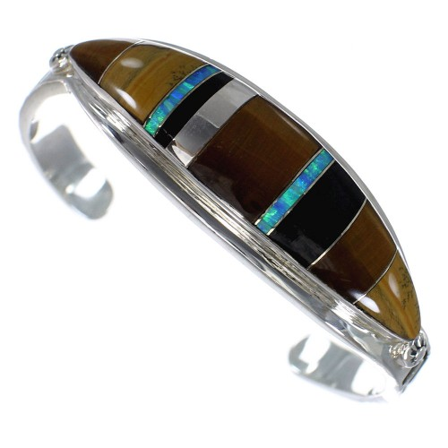 Sterling Silver Water Wave Multicolor Cuff Bracelet CX49483