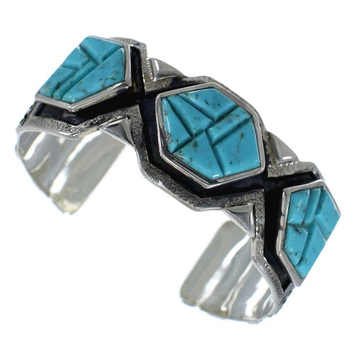 Southwest Turquoise Inlay Sterling Silver Cuff Bracelet CX49141
