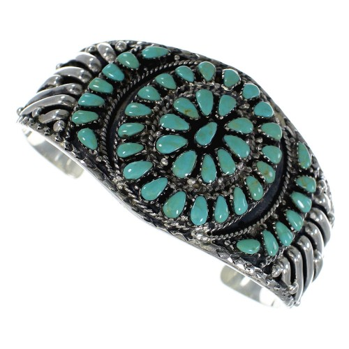 Southwest Sterling Silver Turquoise Cuff Bracelet CX49376