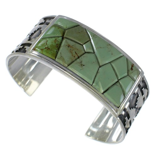Genuine Sterling Silver Turquoise Substantial Cuff Bracelet CX49253