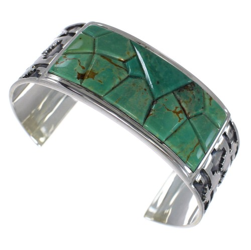 Turquoise Sterling Silver Sturdy Southwest Cuff Bracelet CX49272